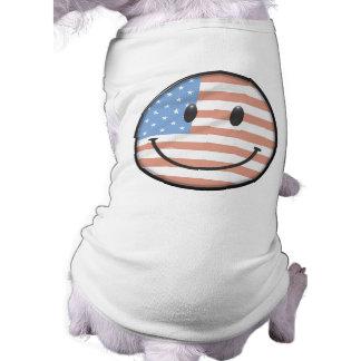 Cara patriótica del smiley de la bandera de los E Ropa De Perros