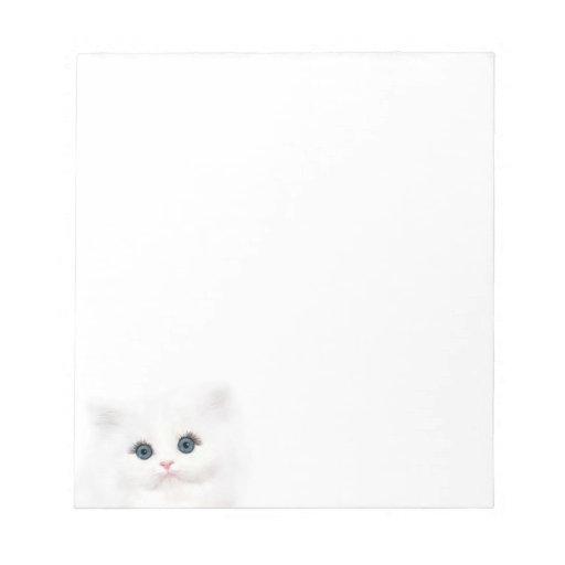 Cara persa blanca del gatito blocs de notas
