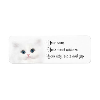 Cara persa blanca del gatito etiqueta de remite