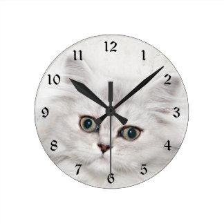 Cara persa del gatito reloj de pared