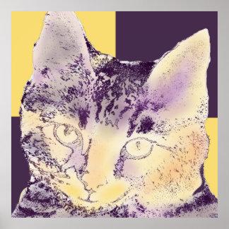 Cara púrpura 2 del gato impresiones