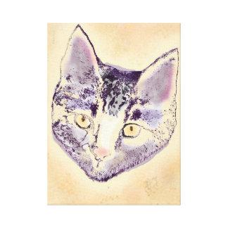 Cara púrpura del gato impresiones en lona