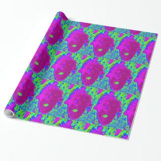 cara púrpura en el Libro Verde Papel De Regalo