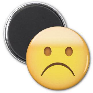 Cara que frunce el ceño blanca Emoji Imán Redondo 5 Cm