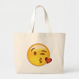 Cara que lanza un beso Emoji Bolsa Tela Grande
