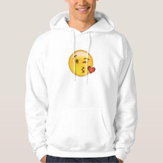 Cara que lanza un beso Emoji Jersey Con Capucha