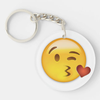 Cara que lanza un beso Emoji Llavero Redondo Acrílico A Doble Cara