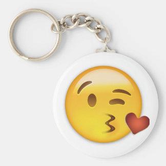 Cara que lanza un beso Emoji Llavero Redondo Tipo Pin
