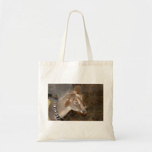 Cara rayada afeitada gama alpina de la cabra del b bolsa lienzo