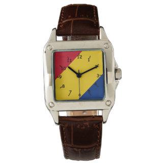 Cara rayada amarilla y azul Tri Coloreada roja Relojes De Pulsera