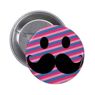 Cara rayada rosada retra del smiley del bigote pin