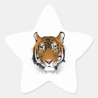 Cara realista del tigre de Bengala Calcomanía Forma De Estrella Personalizadas