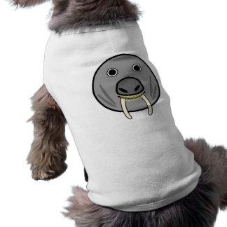 Cara redonda linda de la morsa del dibujo animado playera sin mangas para perro