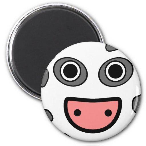 Cara redonda linda de la vaca del dibujo animado imán redondo 5 cm