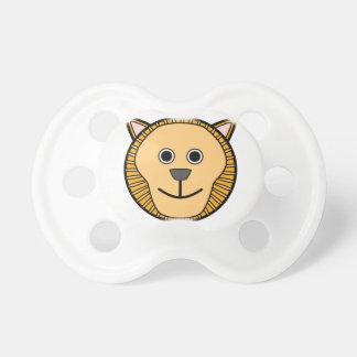 Cara redonda linda del león del dibujo animado chupete de bebé