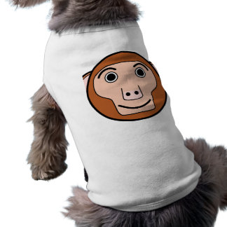 Cara redonda linda del mono del dibujo animado playera sin mangas para perro