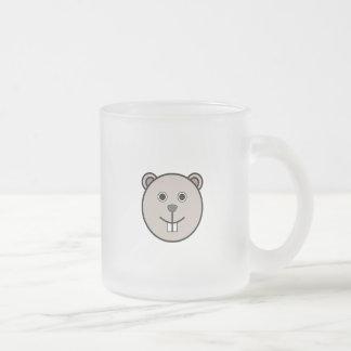 Cara redonda linda del oso del dibujo animado taza de café esmerilada