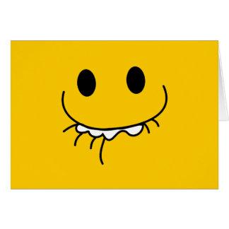 Cara reprimida del smiley de la risa tarjeton