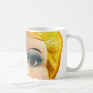 Cara retra de la muñeca de la explosión del vintag taza de café