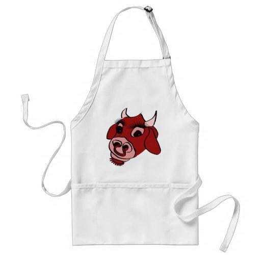 Cara roja de la vaca del dibujo animado delantal