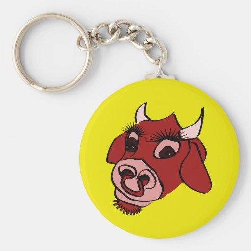 Cara roja de la vaca del dibujo animado llavero redondo tipo pin