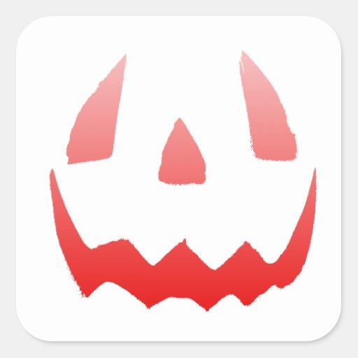 Cara roja del feliz Halloween del resplandor Calcomanías Cuadradas Personalizadas