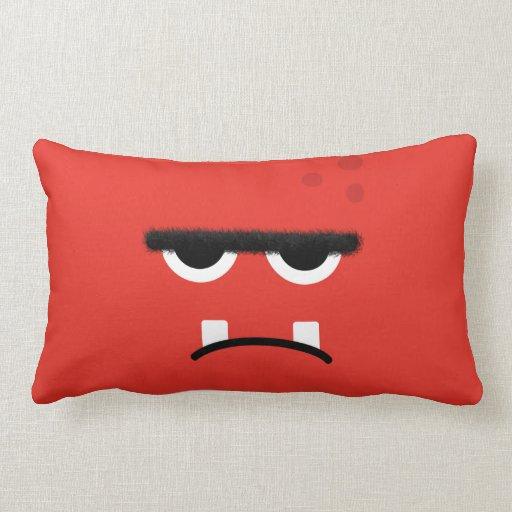 Cara roja divertida del monstruo cojín