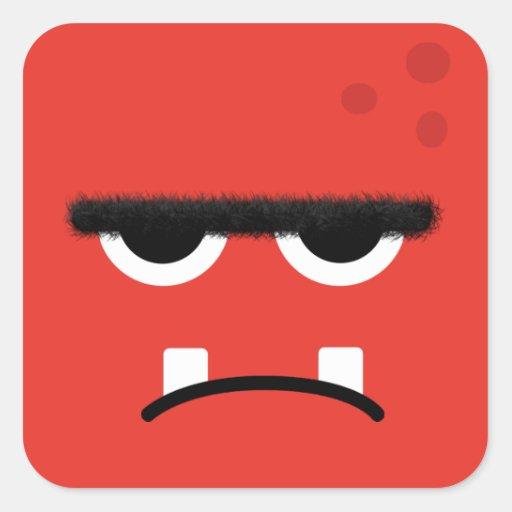 Cara roja divertida del monstruo colcomanias cuadradases