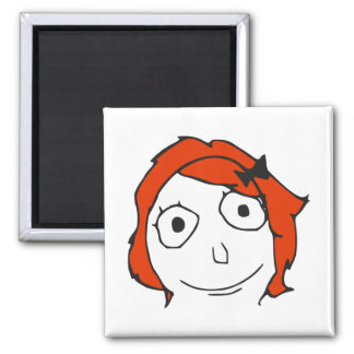 Cara roja Meme de la rabia del pelo de Derpina Iman Para Frigorífico