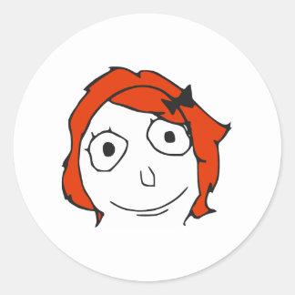 Cara roja Meme de la rabia del pelo de Derpina Pegatina Redonda