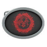 Cara roja y negra del león hebilla de cinturón oval