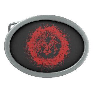 Cara roja y negra del león hebilla cinturon oval