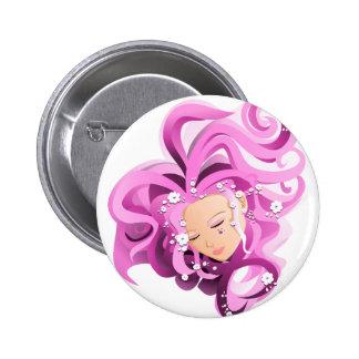 Cara rosada con las flores - botón del chica del pin