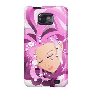 Cara rosada con las flores - caso del chica del samsung galaxy s2 carcasas