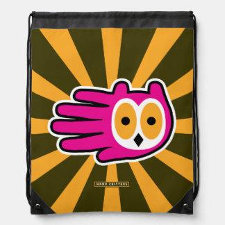 Cara rosada del búho mochilas