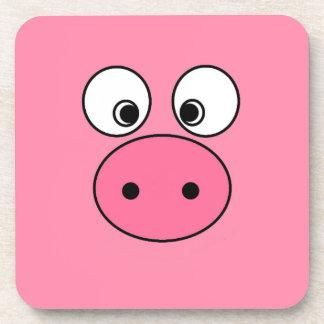 Cara rosada del cerdo posavasos de bebida