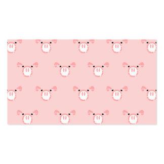 Cara rosada del cerdo que repite el modelo plantilla de tarjeta de visita