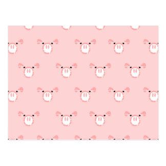 Cara rosada del cerdo que repite el modelo postal