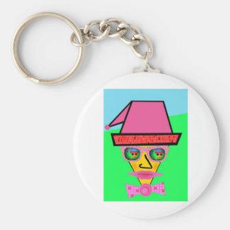 Cara rosada del Humanoid del perro - añada su lema Llavero Redondo Tipo Pin