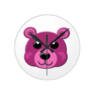 cara rosada del oso de peluche reloj redondo mediano