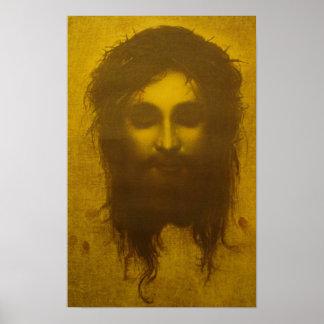 Cara santa del velo del Jesucristo/Veronica Póster