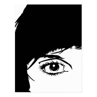 Cara simple de los chicas en postal de la silueta