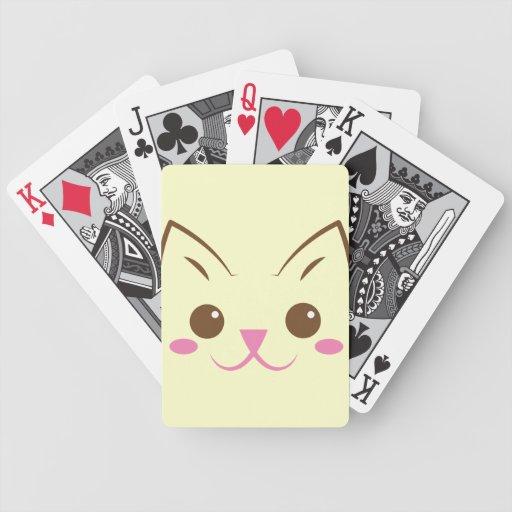¡Cara simple del gato tan linda! Baraja De Cartas