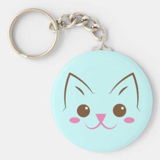 ¡Cara simple del gato tan linda! Llavero Personalizado