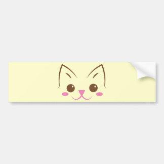 ¡Cara simple del gato tan linda! Pegatina Para Auto