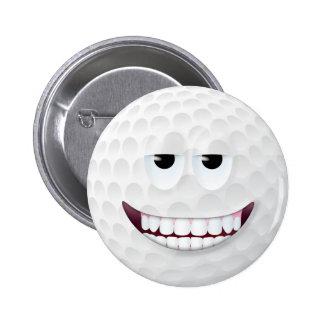 Cara sonriente 2 de la pelota de golf pin redondo de 2 pulgadas
