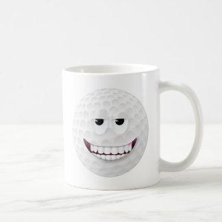 Cara sonriente 2 de la pelota de golf taza