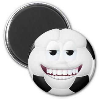 Cara sonriente 2 del balón de fútbol imán de frigorifico