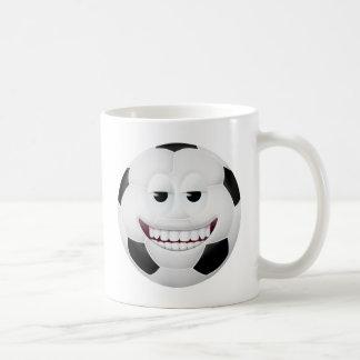 Cara sonriente 2 del balón de fútbol tazas de café