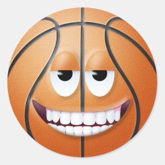 Cara sonriente 2 del baloncesto pegatina redonda